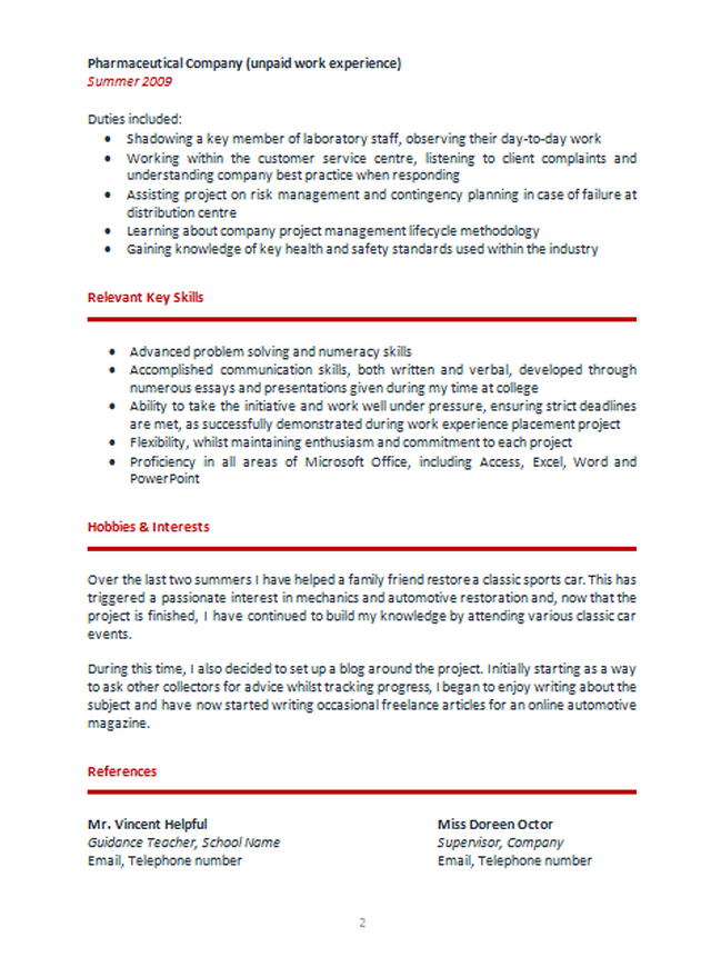 simple cv examples for teenagers